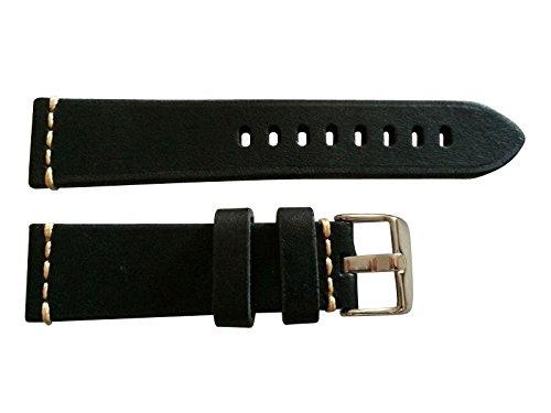 Armband aus Leder Vintage Schwarz Made in Italy 24 mm