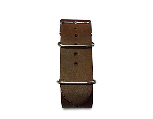 Uhrenarmband NATO Leder dunkelbraun 20 mm Made in Italy