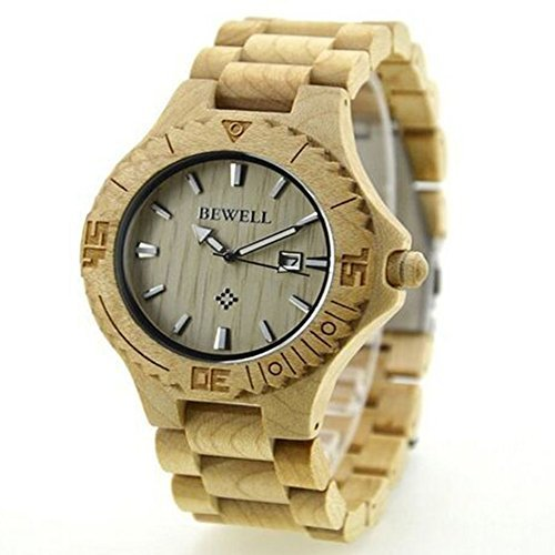 Niceshop weiss Holz Armbanduhren Kalender Datum Holz Armbanduhr hoehenverstellbar Holz Band Armbanduhr