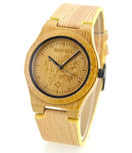Niceshop Bambus Uhren echtem Leder Armband das neue Armbanduhr mit Japan Bewegung fuer Mann und Frau