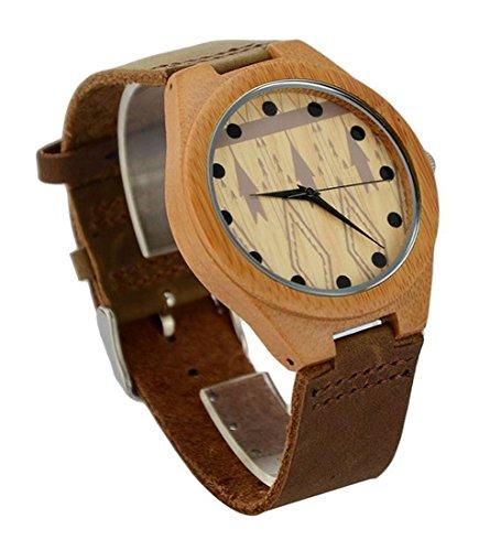Niceshop Damen Sandale Holz Uhren in Leder Band QAURTZ Handgelenk Uhren