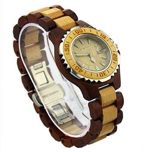Niceshop rund Holz Uhren kombiniert mit Edelstahl Fall mit Datum Kalender fuer Frauen