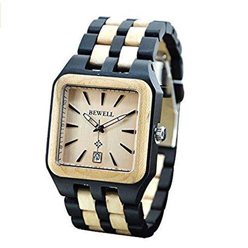Niceshop Herren quadratisch Holz Armbanduhren Geschenk Holz Uhren verstellbar schwarz weiss Sandale Holz Uhren mit Datum Kalender Funktion