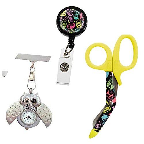Taschenuhr Geschenk Set Eule mit Schere Taschenuhr und Ausweis Clip fuer Krankenschwestern AErzte