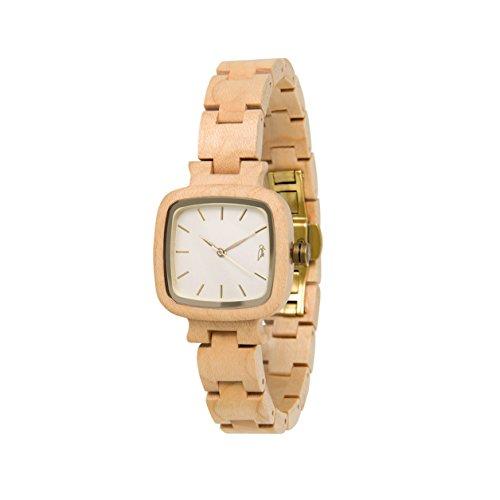 STADTHOLZ Armbanduhr Holzuhr Lausanne Safirglas aus Ahornholz Damenuhr Geschenk