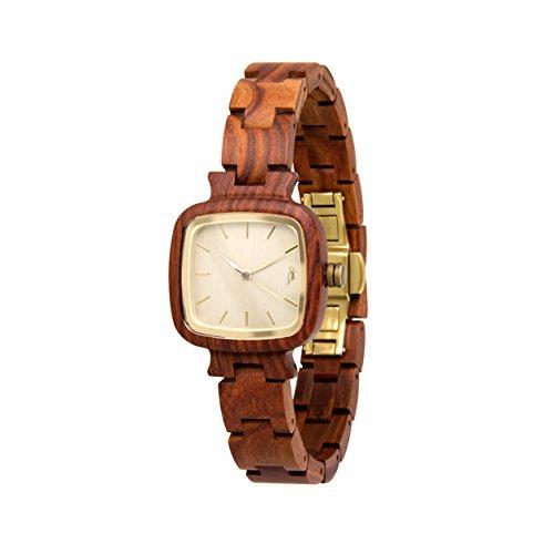 STADTHOLZ Armbanduhr Holzuhr Lausanne Safirglas aus rotem Sandelholz Bronze Damenuhr Geschenk