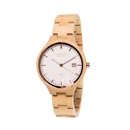 STADTHOLZ Unisex Armbanduhr Holzuhr Bern Safirglas aus Ahornholz Datumsanzeige