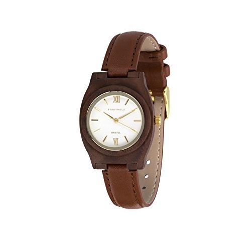 STADTHOLZ Armbanduhr Holzuhr Bristol Safirglas aus Nussbaumholz Lederarmband Damenuhr Geschenk