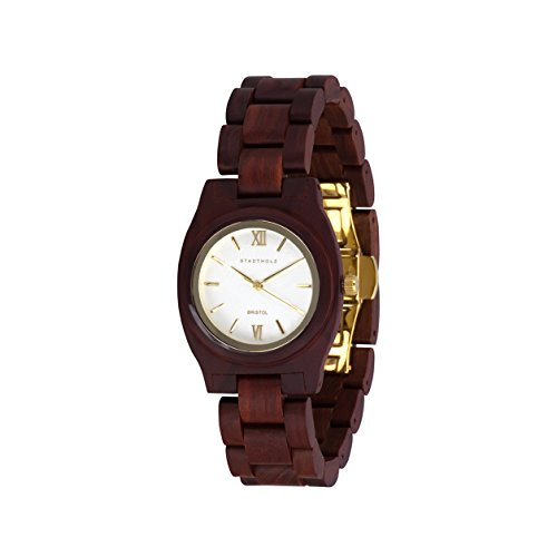 STADTHOLZ Armbanduhr Holzuhr Bristol Safirglas aus rotem Sandelholz Damenuhr Geschenk