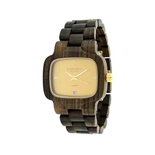 STADTHOLZ Unisex Armbanduhr Holzuhr Lugano mit Safirglas aus Sandelholz Gold Datumsanzeige