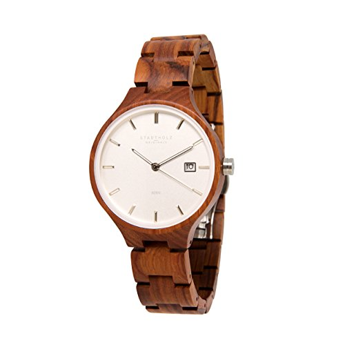 STADTHOLZ Unisex Armbanduhr Holzuhr Bern Safirglas aus rotem Sandelholz Silber Datumsanzeige
