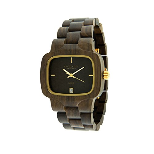 STADTHOLZ Unisex Armbanduhr Holzuhr Lugano mit Safirglas aus Sandelholz Datumsanzeige