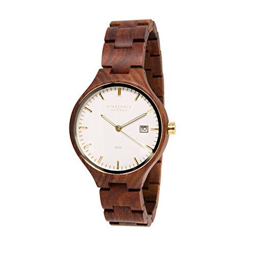 STADTHOLZ Unisex Armbanduhr Holzuhr Bern Safirglas aus rotem Sandelholz Gold Datumsanzeige