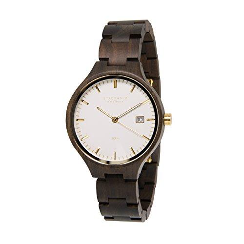 STADTHOLZ Unisex Armbanduhr Holzuhr Bern Safirglas aus Sandelholz Gold Datumsanzeige
