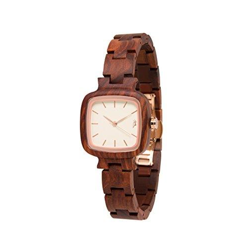 STADTHOLZ Armbanduhr Holzuhr Lausanne Safirglas aus rotem Sandelholz Rose Schweizer Uhrwerk Damenuhr Geschenk
