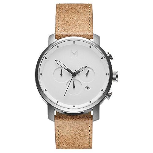 MVMT Herren Watch Uhr Chronograph White Caramel Leder Armband MCC01WT