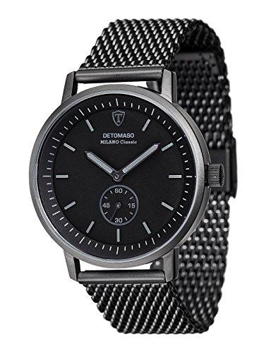 DETOMASO Herren Armbanduhr Milano CLASSIC BLACK Analog Quarz DT1072 I
