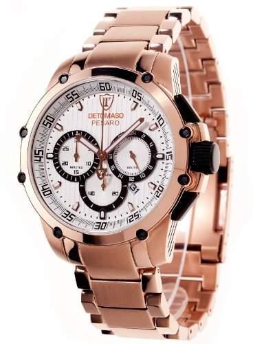 DETOMASO Herrenuhr Quarz Armband Edelstahl beschichtet Mineralglas PESARO XXL Chronograph Classic weissrotgold DT1042-A