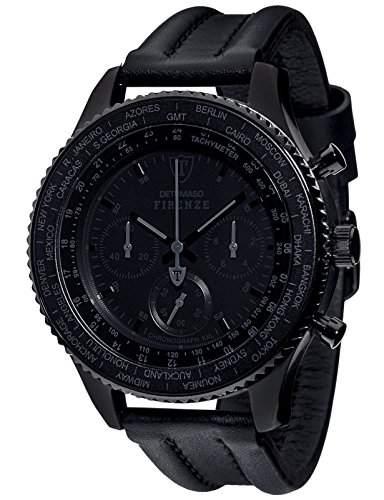 DETOMASO Herrenuhr Quarz Edelstahlgehaeuse Lederarmband Mineralglas FIRENZE BLACK XXL Chronograph Trend schwarzschwarz DT1045-D