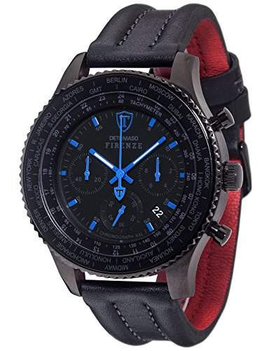 DETOMASO Herren-Armbanduhr Firenze Xxl Chronograph Forza Di Vita Chronograph Quarz DT1045-F