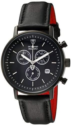 DETOMASO Herrenuhr Quarz Edelstahlgehaeuse Lederarmband Mineralglas MILANO Chronograph Classic schwarzschwarz DT1052-J