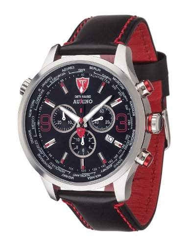 DETOMASO AURINO Chronograph Leather SilverBlack DT1061-F