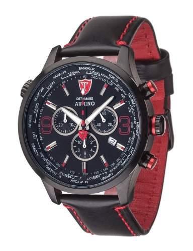 DETOMASO AURINO Chronograph Leather BlackBlack DT1061-H