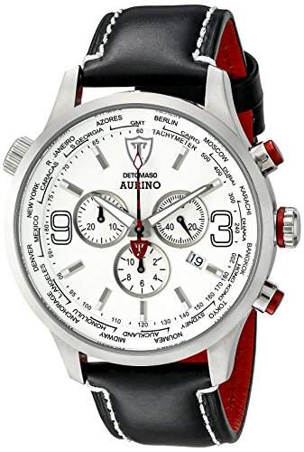 DETOMASO AURINO Chronograph Leather SilverWhite DT1061-I