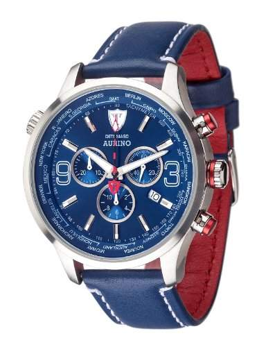 DETOMASO AURINO Chronograph Leather SilverBlue DT1061-J