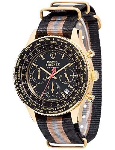 DETOMASO Herren-Armbanduhr Stripes Chronograph Quarz DT1070-B