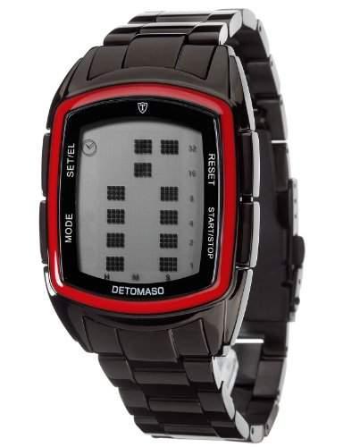 DETOMASO Herrenuhr Quarz Edelstahlgehaeuse Edelstahlarmband Mineralglas SPACY TIMELINE LCD Digital Trend mehrfarbigschwarz DT2013-D