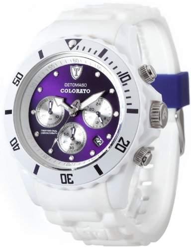 DETOMASO Unisexuhr Quarz Kunststoffgehaeuse Silikonarmband Mineralglas COLORATO CHRONO Silikon Chrongraph Trend violettweiss DT2019-F