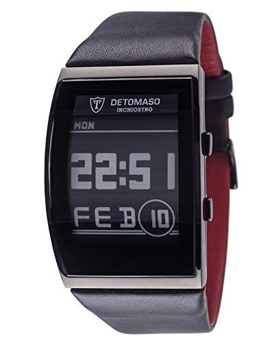 DETOMASO Herrenuhr Quarz Edelstahlgehaeuse Lederarmband Mineralglas INCHIOSTRO Ink Paper Watch Trend mehrfarbigschwarz DT2035-B