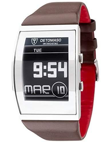 DETOMASO Herrenuhr Quarz Edelstahlgehaeuse Lederarmband Mineralglas INCHIOSTRO Ink Paper Watch Trend mehrfarbigbraun DT2035-C
