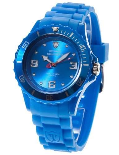 DETOMASO Damenuhr Quarz Kunststoffgehaeuse Silikonarmband Mineralglas COLORATO M Silikon Ladies blaublau DT3007-D