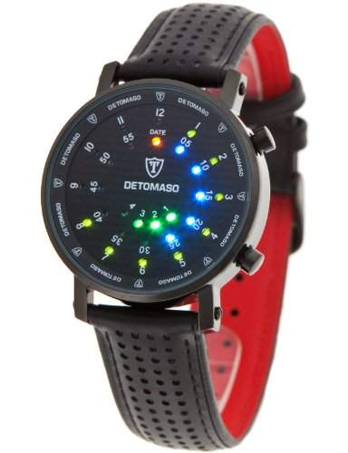 DETOMASO Herrenuhr Quarz Edelstahlgehaeuse Lederarmband Mineralglas SPACY TIMELINE 2 Binaer Trend schwarzschwarz G-30730C-S