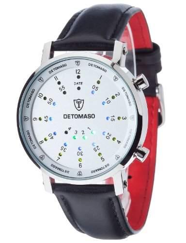 DETOMASO Herrenuhr Spacy Timeline Rund SilberWeissLeder G-30730-S