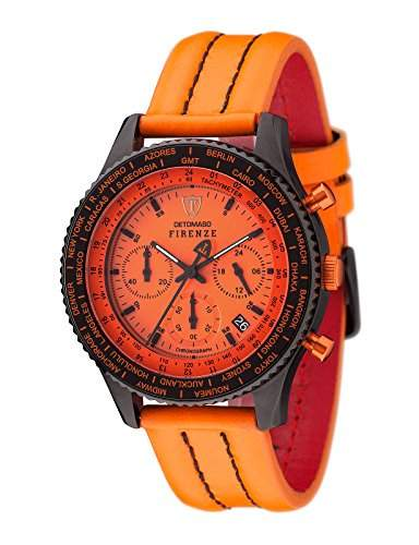 DETOMASO Herrenuhr Quarz Edelstahlgehaeuse Lederarmband Mineralglas FIRENZE Chronograph Trend orangeorange SL1624C-OR