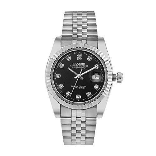 sangdo Herren mit Diamant Rund Dunkelblau Edelstahl Automatik Mechanische Uhren