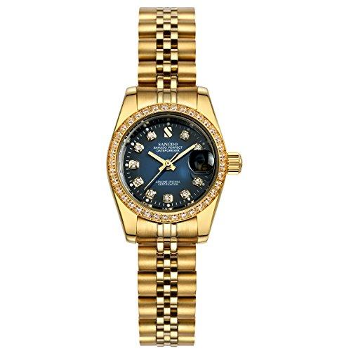 topwatch sangdo Damen diamond accented Luenette blau Zifferblatt Stahl automatische mechanische Armbanduhr