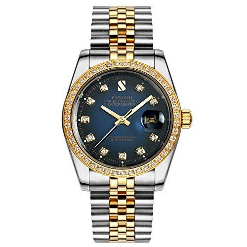 topwatch sangdo Herren diamond accented Luenette blau Zifferblatt bicolor Band automatische mechanische Armbanduhr