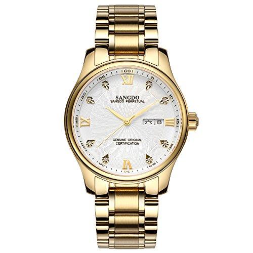 topwatch sangdo Echtes Mechanisches Automatik Uhrwerk Goldband Doppel Kalender Diamant Markierungen fuer Stunden Weisses Zifferblatt