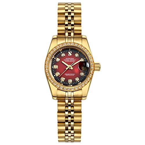 Topwatch Sangdo diamantbesetzte Luenette rotes Zifferblatt Stahl mechanisches Uhrwerk