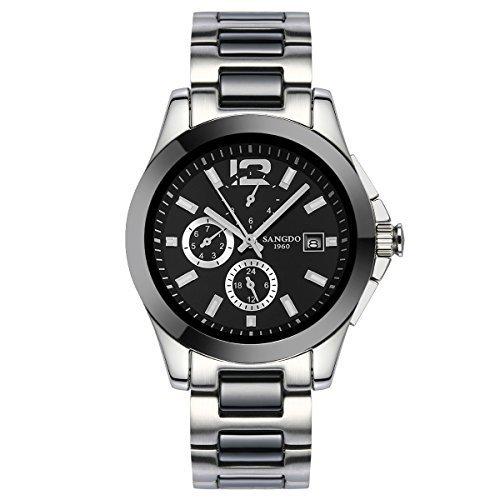 topwatch sangdo Luxus Herren Keramik Band Luenette Multi Display Automatische Mechanische schwarzem Zifferblatt Armbanduhr
