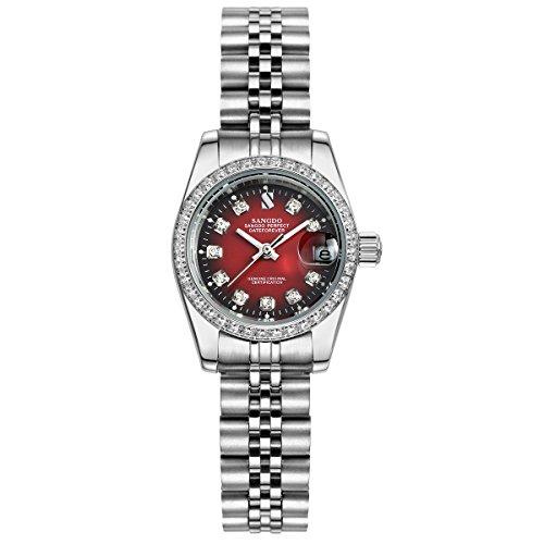 topwatch sangdo Damen diamond accented Luenette rot Zifferblatt Silber Band L Automatische Mechanische Uhr