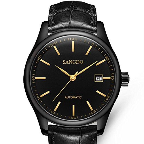 topwatch sangdo Elegante Datum Mechanische Uhr mit Schwarz Leder Band schwarzes Zifferblatt