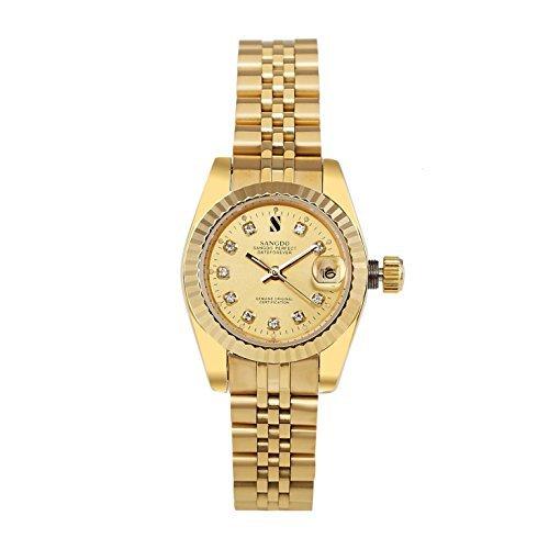 topwatch sangdo Damen Gold Edelstahl Gold Fall Automatische Mechanische Uhren