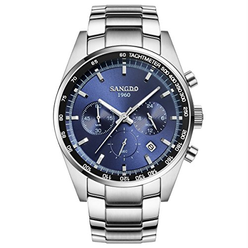 topwatch sangdo Herren Sport Datum Edelstahl Chronograph Quarz Uhr mit Silber Band Blau Zifferblatt