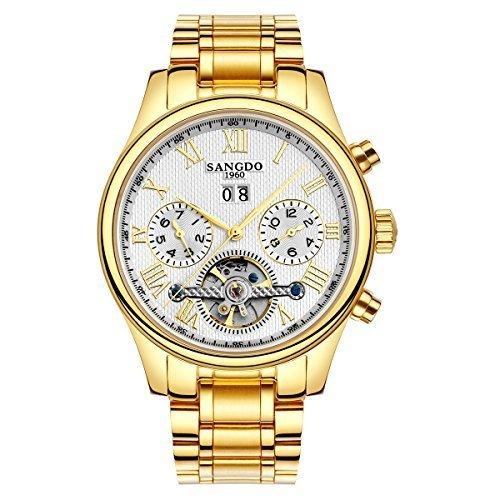 topwatch sangdo Herren Tourbillon automatische mechanische weisses Zifferblatt gold Edelstahl Armbanduhr