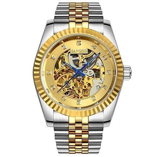 topwatch sangdo Herren Elegante Skelett Gold Zifferblatt gold silver Steel Band automatische mechanische Armbanduhr